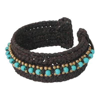 Calcite cuff bracelet, 'Thai Supreme' - Turquoise Colored Cuff Bracelet