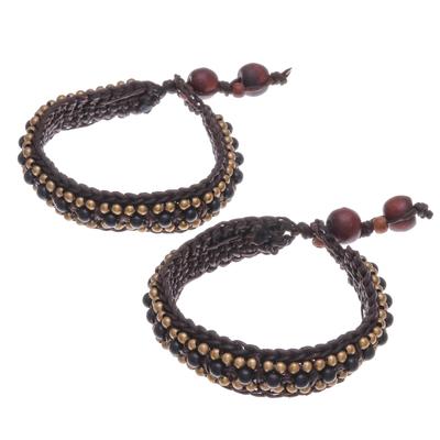 Onyx Wristband Bracelets (Pair)