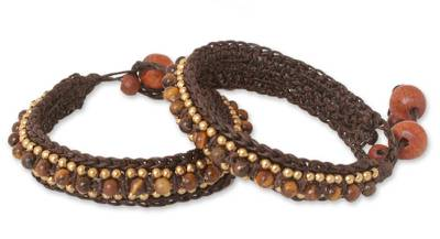 Tiger's eye wristband bracelets, 'Tribal Chic' (pair) - Beaded Tiger's Eye Bracelets (Pair)