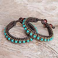 Calcite wristband bracelets, 'Tribal Chic' (pair) - Hand Made Turquoise Colored Wristband Bracelet (Pair)