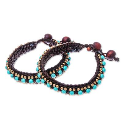 Hand Made Turquoise Colored Wristband Bracelet (Pair)