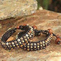 Tiger's eye and jasper wristband bracelets, 'Autumn's Voice' (pair)