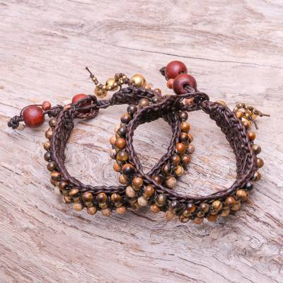 Tiger's eye and jasper wristband bracelets, 'Autumn's Voice' (pair) - Tiger's Eye and Jasper Wristband Bracelets (Pair)