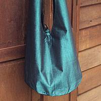Silk and cotton sling handbag, 'Sky Season'