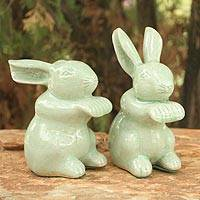 Celadon ceramic figurines, 'Jade Bunny Rabbits' (pair) - Handmade Celadon Ceramic Sculpture (Pair)