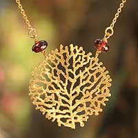 Gold vermeil garnet pendant necklace, 'Living Coral'