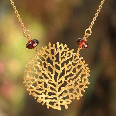 Gold vermeil garnet pendant necklace, 'Living Coral' - Gold vermeil garnet pendant necklace