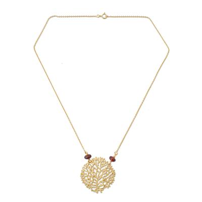 Gold vermeil garnet pendant necklace, 'Living Coral' - Gold vermeil garnet pendant necklace