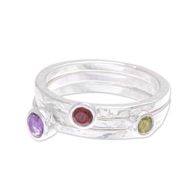Amethyst and garnet stacking rings, 'Spring Color' (set of 3) - Handcrafted Amethyst and Garnet Stacking Rings (Set of 3)