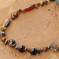 Tiger's eye and carnelian long beaded necklace, 'Exotic Chiang Mai' - Handcrafted Smoky Quartz and Bright Carnelian Necklace