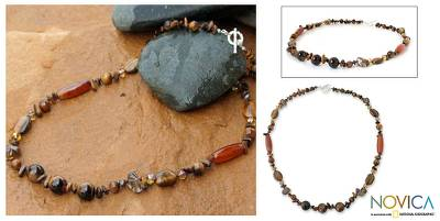 Tiger's eye and carnelian long beaded necklace, 'Exotic Chiang Mai' - Artisan Crafted Beaded Tiger's Eye Necklace