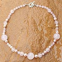 Pearl and rose quartz beaded necklace, 'Thai Romance' - Unique Beaded Pearl and Rose Quartz Necklace