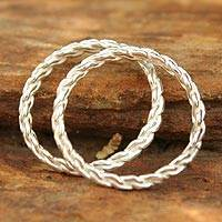 Sterling silver stacking rings, 'Shining Braid' (pair) - Sterling Silver Stacking Rings (Pair)