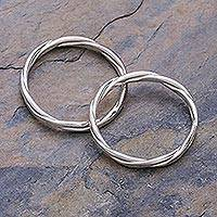 Sterling silver stacking rings, 'Relaxing Touch' (pair) - Sterling Silver Stacking Rings (Pair)