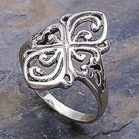 Sterling silver cocktail ring, 'Elegance' - Sterling Silver Band Ring