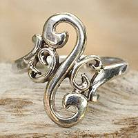 Sterling silver cocktail ring, 'Arabesque Curl' - Sterling Silver Band Ring