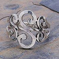 Sterling silver cocktail ring, 'Three Sweet Swirls' - Sterling Silver Band Ring
