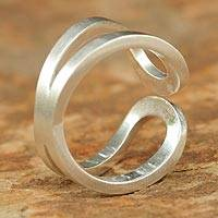 Sterling silver band ring, 'Thai Hug' - Sterling Silver Ring