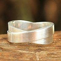 Sterling silver band ring, 'Infinite Lanna' - Handmade Modern Sterling Silver Band Ring