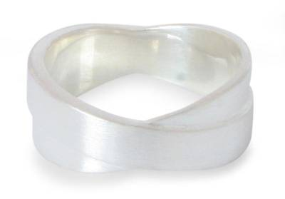 Men's sterling silver band ring, 'Crusader' - Fair Trade Modern Sterling Silver Band Ring