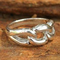 Sterling silver cocktail ring, 'Love Chain' - Unique Sterling Silver Band Ring