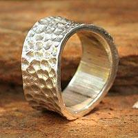 Sterling silver band ring, 'Moonlight Magic' - Handcrafted Sterling Silver Band Ring