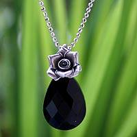 Onyx flower necklace, 'Rose Lover' - Silver and Onyx Pendant Necklace
