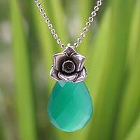 Silver flower necklace, 'Green Rose Lover' - Handmade Silver and Chalcedony Necklace