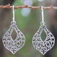 Sterling silver dangle earrings, 'Lace Petals' - Handcrafted Sterling Silver Dangle Earrings