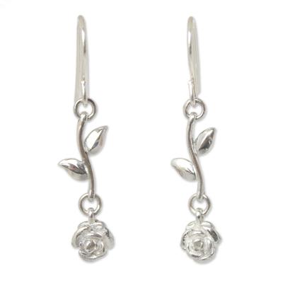 Sterling silver dangle earrings, 'Garland' - Thai Sterling Silver Dangle Earrings