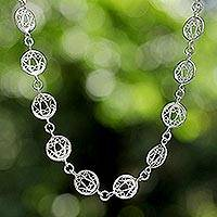 Sterling silver link necklace, 'Filigree Moon' - Sterling Silver Filigree Necklace