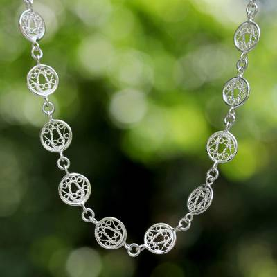 35c4fbc4c2124 Sterling Silver Filigree Necklace, 'Filigree Moon'