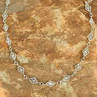 Sterling silver link necklace, 'Filigree Diamonds' - Hand Crafted Sterling Silver Filigree Link Necklace
