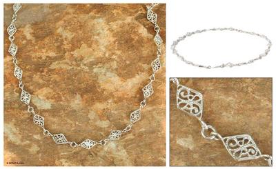 Sterling silver link necklace, 'Filigree Diamonds' - Sterling Silver Link Necklace from Thailand