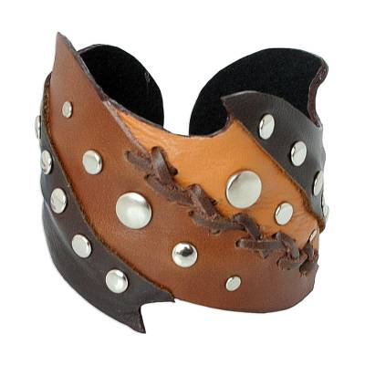 Leather cuff bracelet, 'Honey' - Leather Cuff Bracelet