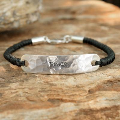 Sterling silver pendant bracelet, 'Spirit of Peace' - Sterling Silver Braided Bracelet