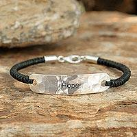 Sterling silver pendant bracelet, 'Spirit of Hope' - Sterling Silver Braided Bracelet