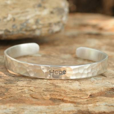 Sterling silver cuff bracelet, 'Hope' - Hand Made Inspirational Sterling Silver Cuff Bracelet