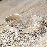 Sterling silver cuff bracelet, 'Peace' - Fair Trade Thai Sterling Silver Cuff Bracelet