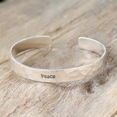 Sterling silver cuff bracelet, 'Peace' - Inspirational Sterling Silver Cuff Bracelet from Thailand