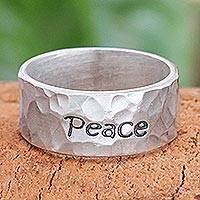 Sterling silver band ring, 'Spirit of Peace' - Handcrafted Sterling Silver Band Ring