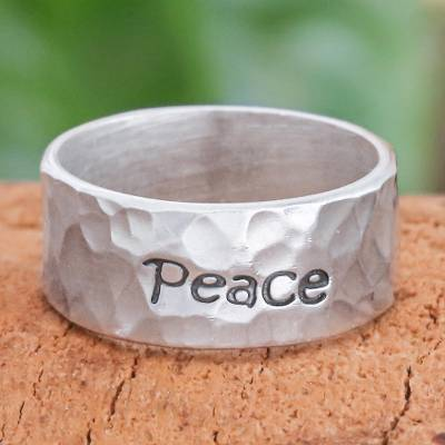 Sterling silver band ring, Spirit of Peace