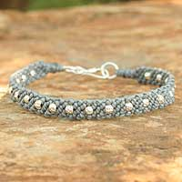 Silver braided bracelet, 'Hill Tribe Harmony in Gray' - Fair Trade Silver Braided Bracelet