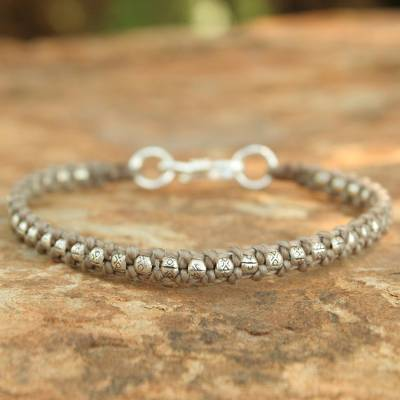 Silver braided bracelet, 'Hill Tribe Heir in Khaki' - Hand Made Thai Silver Braided Bracelet
