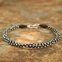 Silver braided bracelet, 'Hill Tribe Dreams' - Handcrafted Silver Beaded Bracelet
