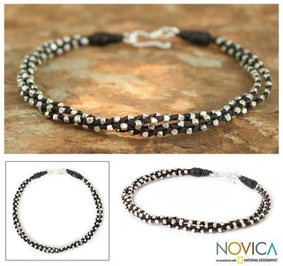 Silver braided bracelet, 'Hill Tribe Dreams' - Handcrafted Silver Beaded Bracelet