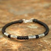 Silver braided bracelet, 'Hill Tribe Belle'