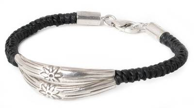 Unique Floral Fine Silver Braided Bracelet from Thailand