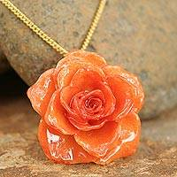 Natural rose pendant necklace, 'Tropicana' - Natural rose pendant necklace