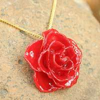 Natural rose pendant necklace, 'Sweet Scarlet' - Hand Made Natural Flower Pendant Necklace